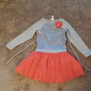 Girls 10 sparkly floral coral winter fall dress